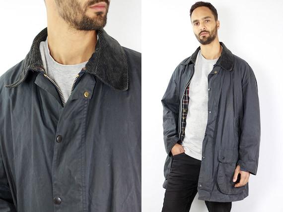BARBOUR Wax Coat BORDER Wax Jacket Vintage Barbour Coat Parka Blue Coat Barbour Vintage Wax Jacket Blue Wax Coat Barbour BORDER Coat