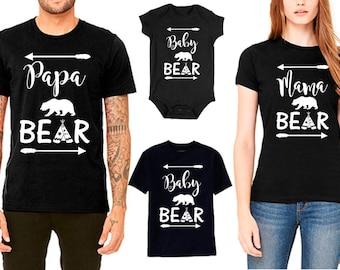 Mama Bear - Papa Bear - Baby Bear - Family T shirt Set, Matching Family Shirts - Price for 1 tee-