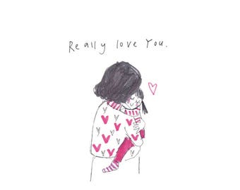 Really Love You - Dark haired Girl - a print from the 'Sketchy Muma' series written and illustrated by Anna Lewis.