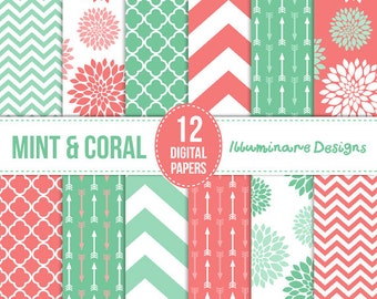 Mint and Coral Digital Paper: Digital Scrapbooking Paper Variety Pack in Floral, Arrows, Quatrefoil and Chevron Patterns - Commercial Use Ok