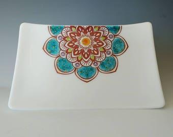 Fused Glass Dish Mandala Handcrafted Plate Trinket White Teal Purple Violet Amber Lime Green Multi 22K Gold Elegant