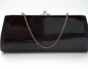 Vintage Patent Clutch, Black Patent Clutch, Patent Evening Bag, Striped Lining Bag, Kiss-Lock Clutch, Black Clutch, Classic Patent Bag