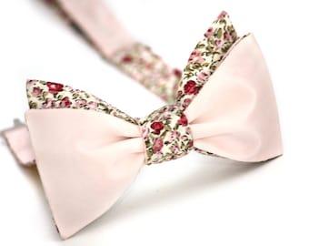 Mens bow tie Pink floral bow tie men's self tie bow tie SCR331 Wedding tie