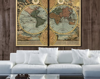 Large World Map Art on Canvas - Circa 1700; Color 2 panel gallery art, Canvas World Map, Map on Canvas Map, Large Canvas Map