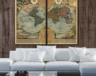 Huge what a wonderful world map art on canvas script large world map art on canvas circa 1700 color 2 panel gallery art canvas world map map on canvas map large canvas map wall art gumiabroncs Gallery