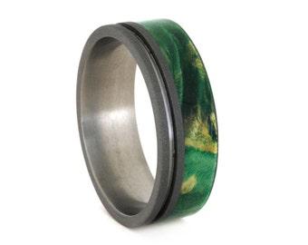 Wood Wedding Ring with Green Box Elder Burl, Green Ring in Titanium Wedding Band, Sandblasted Design