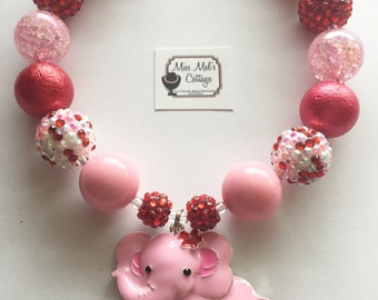 Sweet Pink Elephant/zoo animals Chunky/Bubblegum Bead Necklace/sale