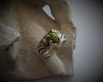 Gaspeite swirl ring,sterling silver ring,nature ring