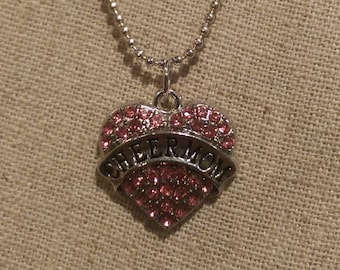 Pink Rhinestone Pewter CHEER MOM Charm necklace w/ Chain