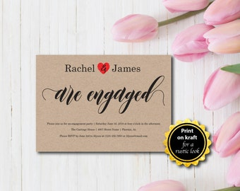 Engagement Party Invitation, Party Invitation, Rustic, Kraft Invitation, Template, DIY EDITABLE PDF, Printable Instant Download E109A