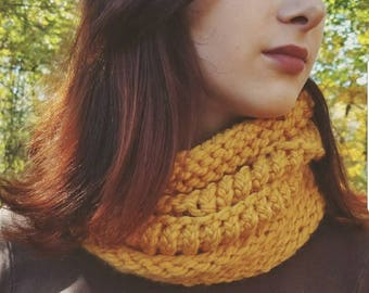 Chunky Hand Knit Cowl in Mustard Yellow