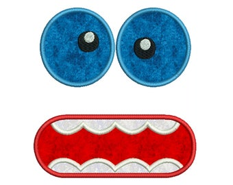 Monster Face 2 - Machine Applique Embroidery - Instant Digital Download