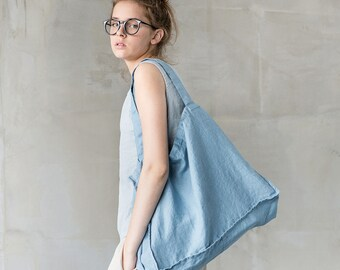 Large linen tote bag / linen beach bag / linen shopping bag in swedish blue