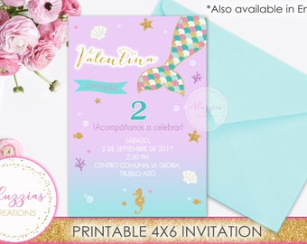 Mermaid invitation, Under the sea Birthday Party, Under the sea Invitation, Mermaid Printables, Mermaid Birthday, Sea Party, Digital File