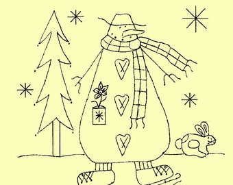 "Primitive Stitchery E-Pattern Snowman by Month January, ""Take time to chase the snowflakes!"""