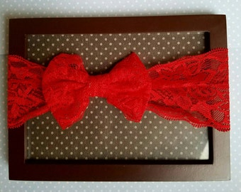 Red lace 3 months - toddler headband