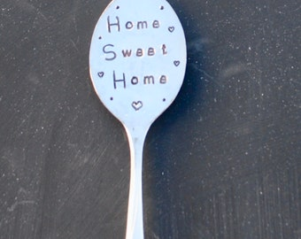 HOME SWEET HOME. Kitchen Magnet. Stamped Spoon. Silver Plate flattened Spoon. Best Selling Item. Housewarming Gift.  New Home House