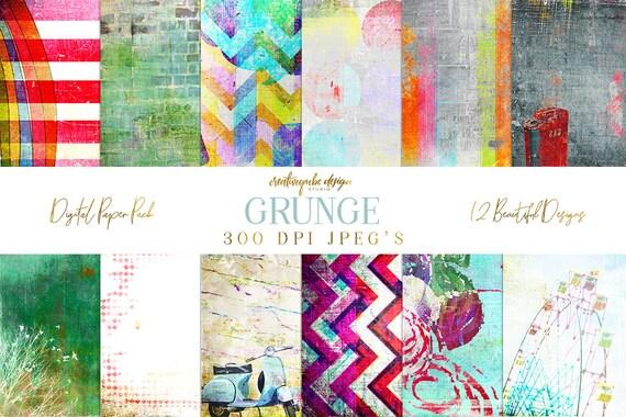 Digital paper, Digital Scrapbook paper pack - Instant download - 12 Digital Papers - Grunge textured, Planner Printable