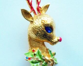 "Vintage Signed Art Reindeer Christmas Brooch 4 1/4""h Fabulous"