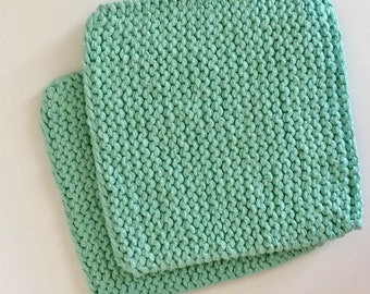 Hand Knit Cotton Pot Holders - Set of 2 Hot Pads - Skye