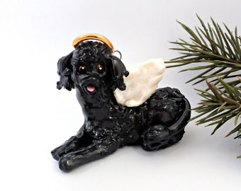 Poodle Angel Black PORCELAIN Christmas Ornament Figurine Memorial