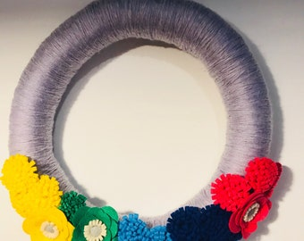 Yarn Wrapped Wreath Ombré Spring and Summer Door and Wall Decor Felt Flower