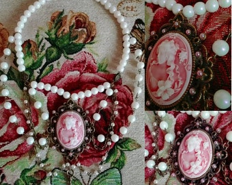 Victorian style pearl choker antique bronze with pink and white cameo vintage steampunk classic lolita gothic necklace