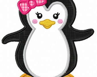 Instant Download Girl Penguin  Applique Machine Embroidery Design NO:1270