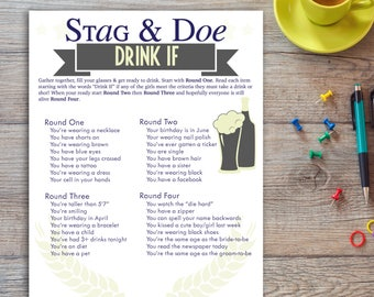 4 rounds Stag and Doe Drink If Drinking Game Printout