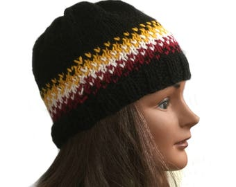 Fair Isle beanie hat, acrylic knit hat, ski hat hand knit, Icelandic knit hat, black beanie, hand knit ski cap, cold weather hat
