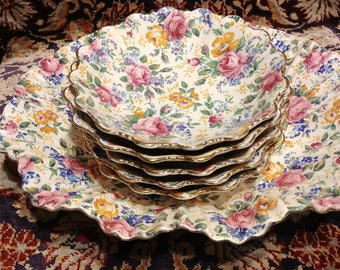 James Kent Rosalynde Chintz berry set large Shell edge bowl and 5 small shell edged bowls