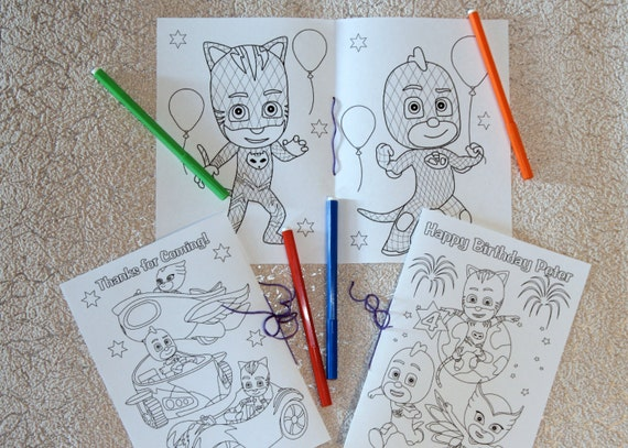 Coloring Pages Pj Masks : Pj masks birthday party coloring pages activity book pdf