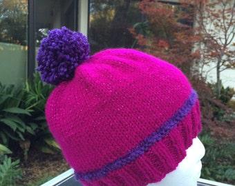 Fuchsia Pompom Hat