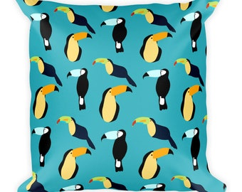 Toucan Pattern Turquoise Throw Pillow