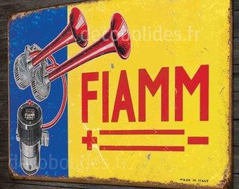 plated metal Horn FIAMM 40x28cm vintage decor.