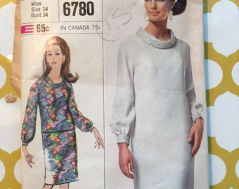 1966 Simplicity Sewing Pattern 6780 Misses Cowl Neck Dress or Skirt and Top Size 14 cut- evening dress, cowl neck dress, skirt pattern, top