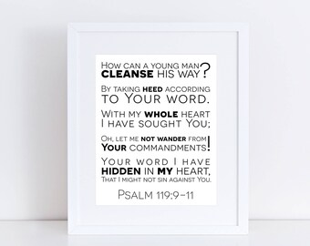 PRINTABLE Psalm 119 11 Sign, Bible Class Poster, Sunday School Poster, Bible Verse Art, Bible For Kids, Psalms Art, Bible Verse Printable