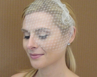 Double Layer Tulle and French Net Teardrop Veil in Light Ivory Off-White White Champagne Blush Black - READY TO SHIP in 3-5 Business Days