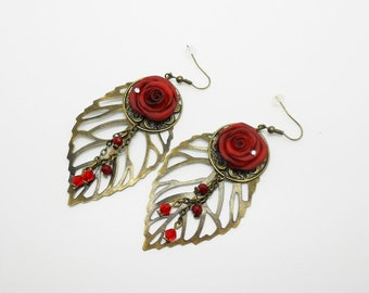 leaves earrings with pink molded porcelain cold wedding - various designs