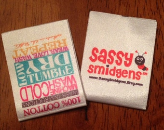 Custom Satin Labels - Clothing Labels - Sewing Tags - Digitally Printed - 100 - UNLIMITED COLORS - Made in USA