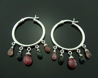 Ruby Watermelon Tourmaline Hoop 925 Sterling Silver Earrings