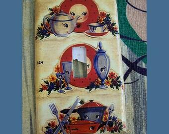 retro kitchen switch plate vintage anthropomorphic kitsch 1950's mid century light switch