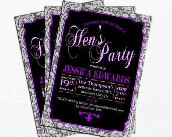Purple Black Hen's Party Invitation / Digital Printable Invitation / Customized