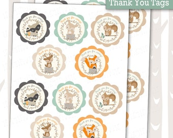 Sweet Woodland Baby Shower Thank You Tags | Decorative Woodland Animals Tags | Forest Friends Gift Labels