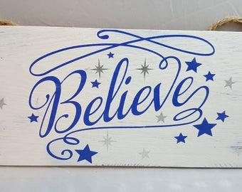 Christmas Sign, Believe Christmas Sign, Christmas Decor