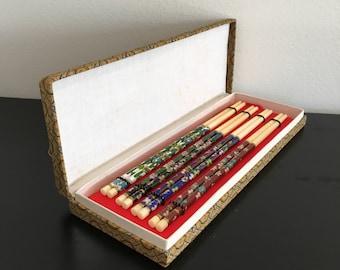 Vintage, Cloisonne Chopsticks,Chinese Chopstick Set,Chopsticks,Chopstick Box,Colored Chopsticks,Oriental Decor,Asian Interiors,Kitchen Decor