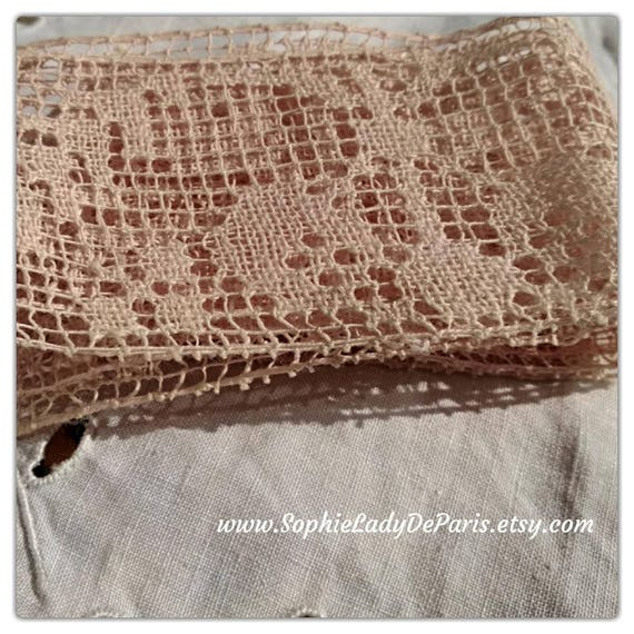 Victorian Old Pink Bobbin Lace Braid French Cotton Lace Unused Sewing Project Collectible #sophieladydeparis