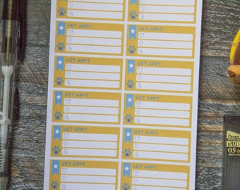 Vet Appt. Stickers for Weekly Scheduler / Matte & Writeable
