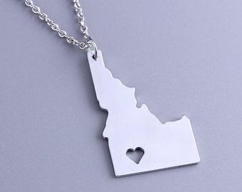I heart Idaho Necklace - Idaho Pendant - State Charm - Map necklace - Map Jewelry