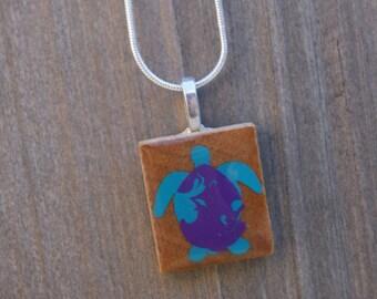 handmade sea turtle scrabble tile necklace